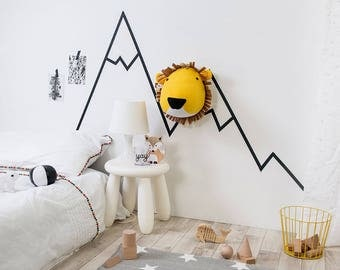 Faux lion head, baby room ideas, Felt Taxidermy Animal Lion Trophy Head for children's bedroom, lion head, animal head, faux lion, kids room