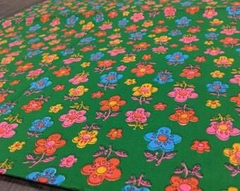 Vintage Floral Cotton Fabric Green Orange Yellow Blue Daisies Retro 60s