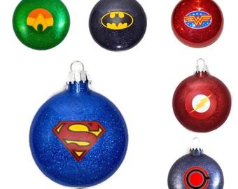 Justice League SET OF 6 Ornaments - Super Hero Set of Ornaments - DC Comics Set of Ornaments - SuperHero Gift - Superhero Set of 6 Ornaments