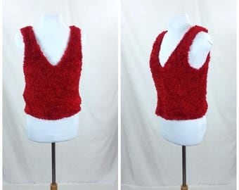 Vtg Red Fuzzy Raver Tank Top - Large // club kid 90s rave vintage tank top furry fuzzy tacky
