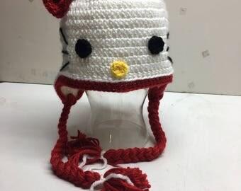 Hello kitty winter hat, kitty hat, crochet hello kitty,