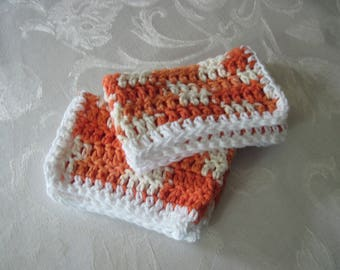 "Set of Two Hand Crochet Orange, Cream, And White Washcloths, Dishcloths, and Facecloths 10 1/2"" by 6 1/2"" ( One Price Buys Two)"
