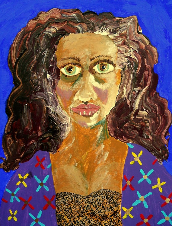 "AS I AM, Acrylic painting (Self Portrait of Outsider Artist, Stacey Torres) on 16x20"" Canvas Panel, African American Folk Art, Framed"