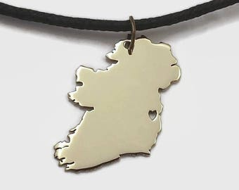 Ireland Map Pendant Necklace in Brass or Copper for proud citizens of Ireland  - Geography Map Pendant Gift