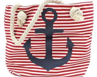 Classic bag, rope handle, anchor, red, white, shopping bag, beach bag