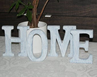 "Shabby chic letters, ""home"", blue-white, wood"