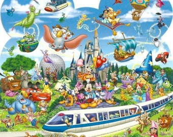 """ON SALE Counted Cross Stitch - Monorail & characters- 22.79"""" x 24.00"""" - L791"""