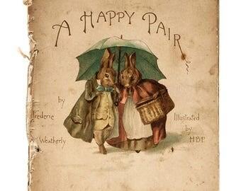 "A happy pair cover book  by potter needlework, Kräiz Stitch - counted Cross Stitch Pattern chart pdf format - 16.36"" x 18.86""  - L1192"