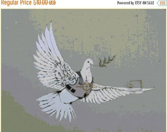 "Banksy Counted Cross Stitch dove Pattern chart pdf point de croix needlepoint needlecraft street art -19.57"" x 14.79""- L1368"