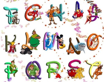 "Alphabet Disney characters Cross Stitch Alphabet Disney Pattern abc pattern ponto de cruz needlepoint -23.64"" x 32.36""- L828"
