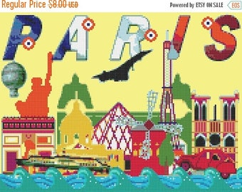 paris Counted Cross Stitch Pattern paris mini nice city needlework needlepoint needlecraft - 178 x 133 stitches - L1556