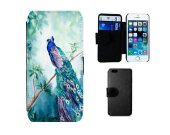 Wallet iPhone case 8 7 6S 6 Plus, SE 5S 5C 4S X, Samsung Galaxy S8 Plus, S7 S6 Edge, S5 S4 Mini, Note 5 Peacock flip phone cover gifts. F321