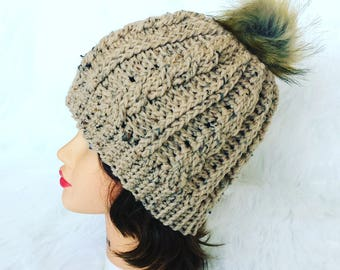 CABLE POMPOM BEANIE oatmeal crochet winter hat woman's accessory