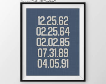 Special Dates Print Custom Gift Birthday Keepsake Decor Birth Dates Print Keepsake Gift Custom Dates Print Anniversary Gift Birthdates Gift