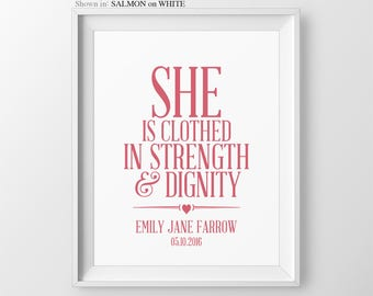 Nursery Art She Is Clothed In Strength And Dignity Baby Girl Nursery Proverbs 31:25 Girl Wall Art Baby Nursery Sign Name Sign Girl Nursery