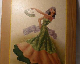 George Telo Lithograph - George Telo Spanish Dancer - Spanish Art - Latin Lady Dancer with Fan
