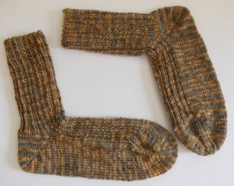 hand-knitted socks, Gr. 40/41 (EU), several shades of brown