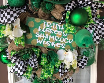 Saint Patricks Day Wreath ,St Pattys Door Decor , Sprin Wreath,Burlap Mesh Wreath,Shamrock Wreath, Leprechaun Wreath