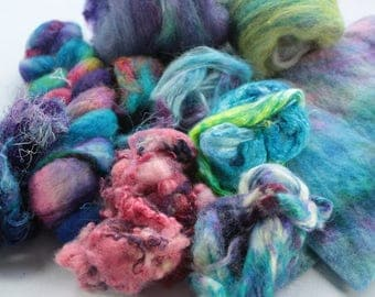 Hand painted Mixed fibres for felting, Inspirational Pack