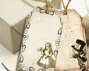 10 Alice in Wonderland  Gift Tags Toppers,Favors,Wedding.Tea Parties,Baby Shower,Bridal Shower,Birthday,Gifts