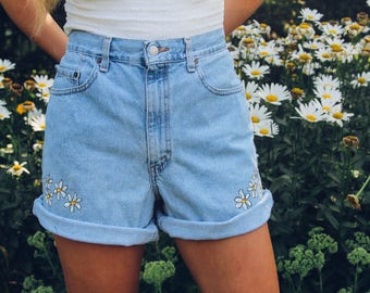 Daisy Duke Handpainted High Waisted Jean Shorts