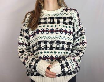 80s Vintage Patterned Sweater
