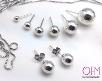 10pcs Sterling Silver 925 Stud Ball Earrings Sizes: 3mm, 4mm, 5mm, 6mm, 7mm, 8mm - ball post earrings - Earring Backs Included!