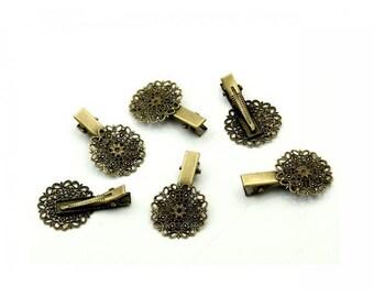 10 filigree flower Bronze alligator hair clips