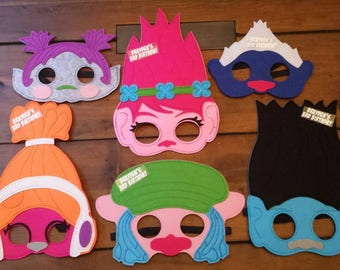 Personalized Trolls Felt Masks! Trolls Birthday Party Favors!