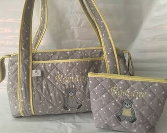 All diaper bag and toiletry bag.