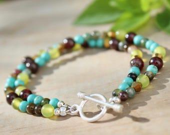 Boho bracelet, Bohemian bracelet, Stacking bracelet, Green bracelet, Beaded bracelet, Natural stone bracelet, Gemstone bracelet Gift for her