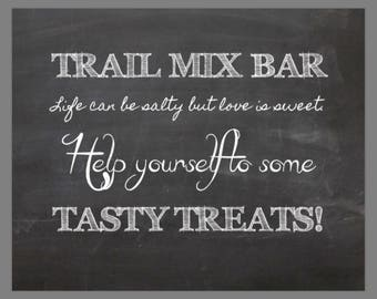 PRINTABLE 8x10 Trail Mix CHALKBOARD SIGN