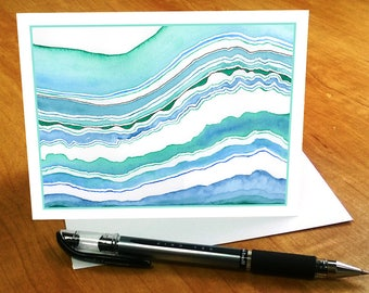 Beach Note Card Set, Watercolor Stationary, Blue Green Agate Notecards, Teal Notecards Green Blue Abstract Notecard Set Agate Stationery Set