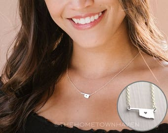Oklahoma State Necklace - I heart Oklahoma, Oklahoma necklace, Oklahoma state necklace