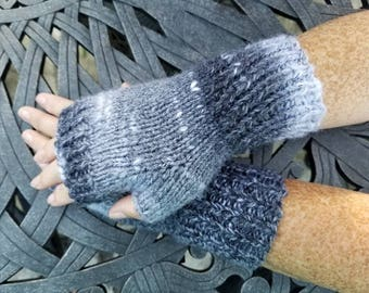 Marble Fingerles Gloves - Black and Grey Fingerless Gloves - Knit Handmade Fingerless Gloves - Knit Mittens -  Arm Warmers - Wrist Warmers