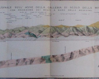 1892 Monteponi Mine/Mining District Sardinia Italy Carbonia-Iglesias Province. Geology, Cross-Section Mountains Antique Geological Map