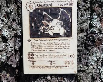 Wood Burning - Charizard Pokemon Card