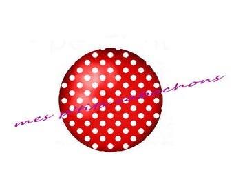 18 mm - nice Ref polka dot glass cabochon