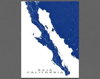 Baja California Map, Baja Map Print, Baja Mexico Art, Cabo San Lucas