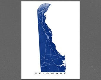 Delaware Map, Delaware State Map Print, USA State Art
