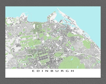 Edinburgh Map, Edinburgh Scotland Art Print, Buildings City Maps
