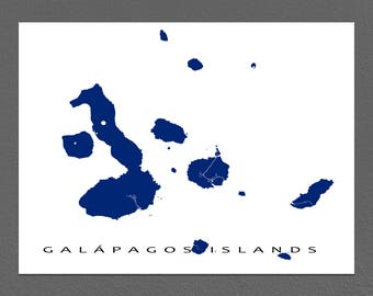 Galapagos Map Print, Galapagos Islands Ecuador, Map Poster