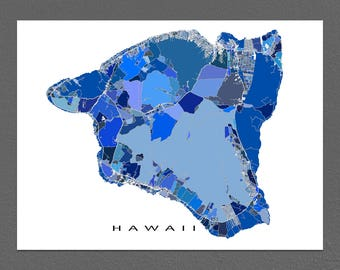 Hawaii Map, Big Island of Hawaii Wall Map Art Print, USA