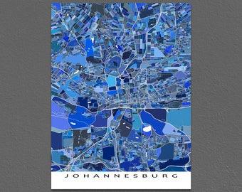 Johannesburg Map Print, Johannesburg South Africa, City Map Art