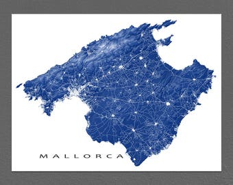 Mallorca Map Print, Majorca Spain Island Art Prints