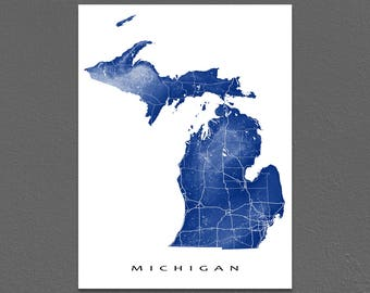 Michigan Map, Michigan State Art Print, USA, Detroit, MI