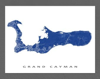 Grand Cayman Map Print, Cayman Islands Art, Grand Cayman Island