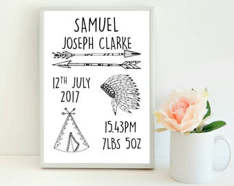 New Baby Print, Personalised New Baby Print, Tribal Baby Print, Nursery Print