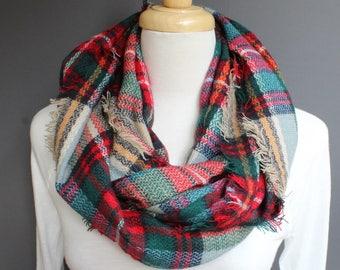 Teal Red Beige Plaid infinity scarf pattern soft circle blanket scarf fringe plaid check pattern super soft tartan plaid aqua teal green