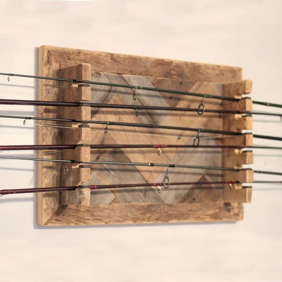 Barn wood fishing rod rack horizontal for Horizontal fishing rod rack